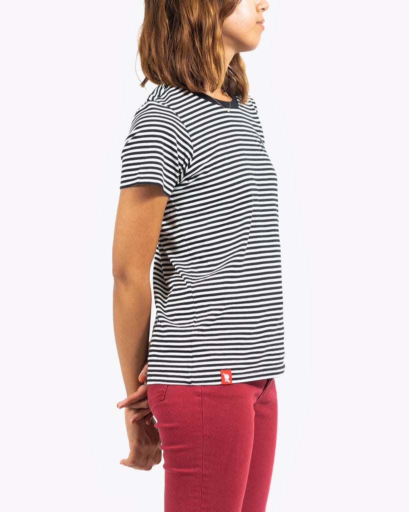 Women's Sailor Stripe Tee- Black/White - Pabst Blue Ribbon Store