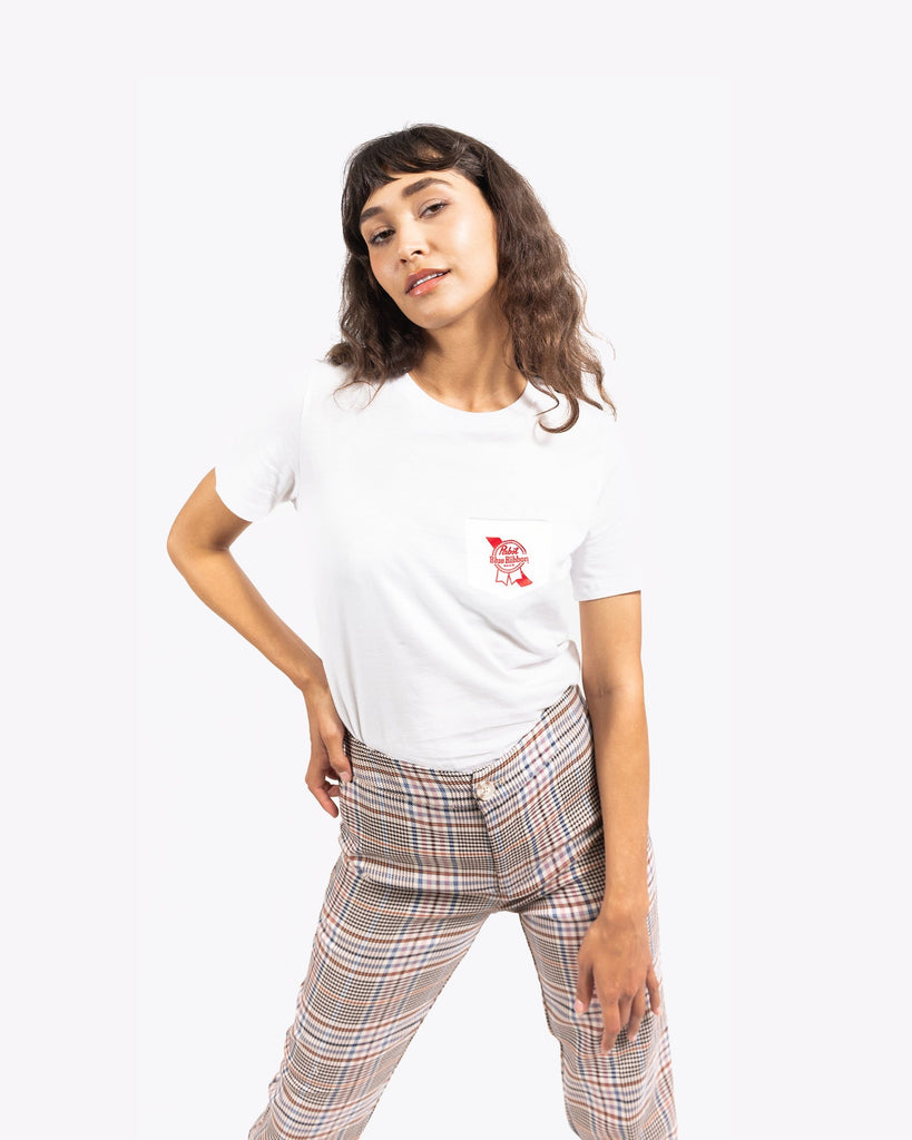 Women's Ribbon Pocket Tee- White - Pabst Blue Ribbon Store