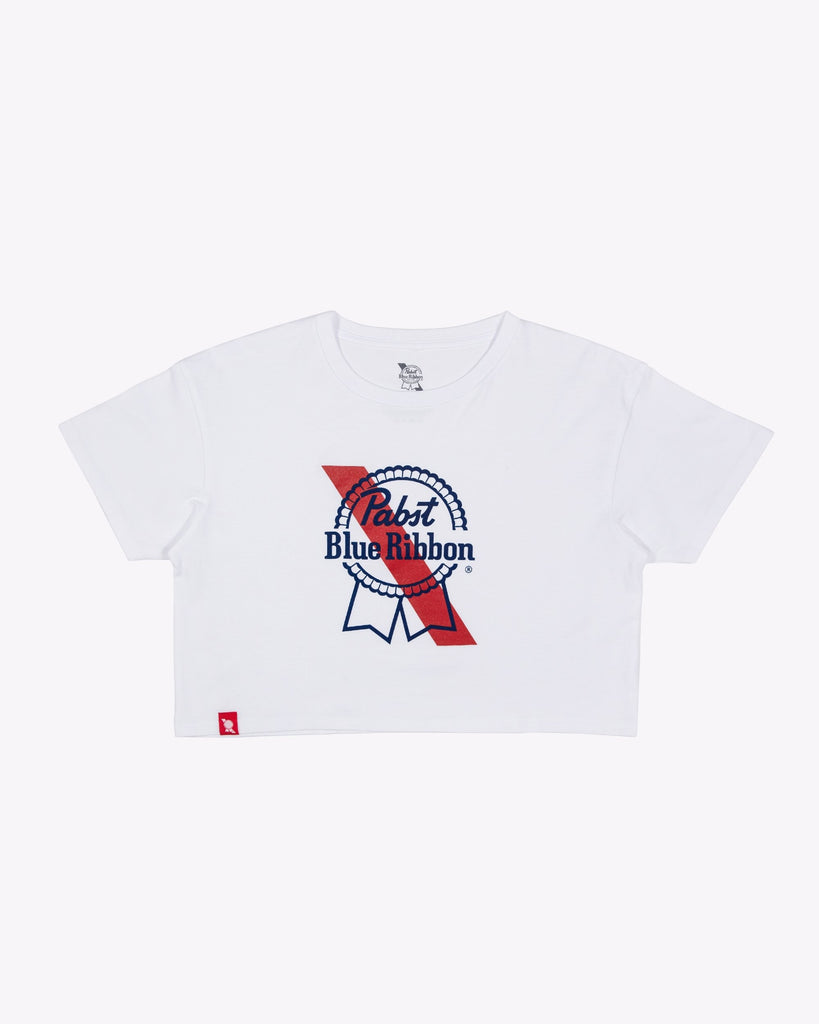 Women's Banner Crop Tee- White - Pabst Blue Ribbon Store