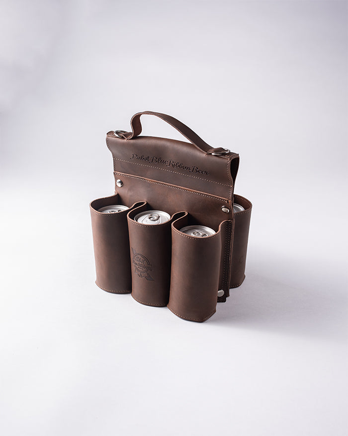 Leather 6-Pack Carrier - Pabst Blue Ribbon Store