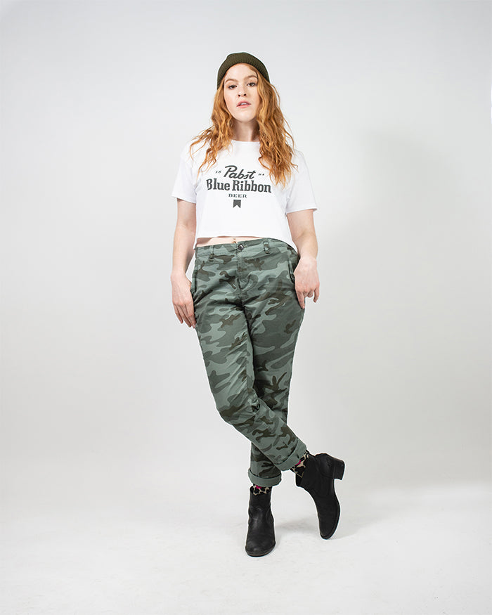 Womens Ribbon Crop Tee - Pabst Blue Ribbon Store