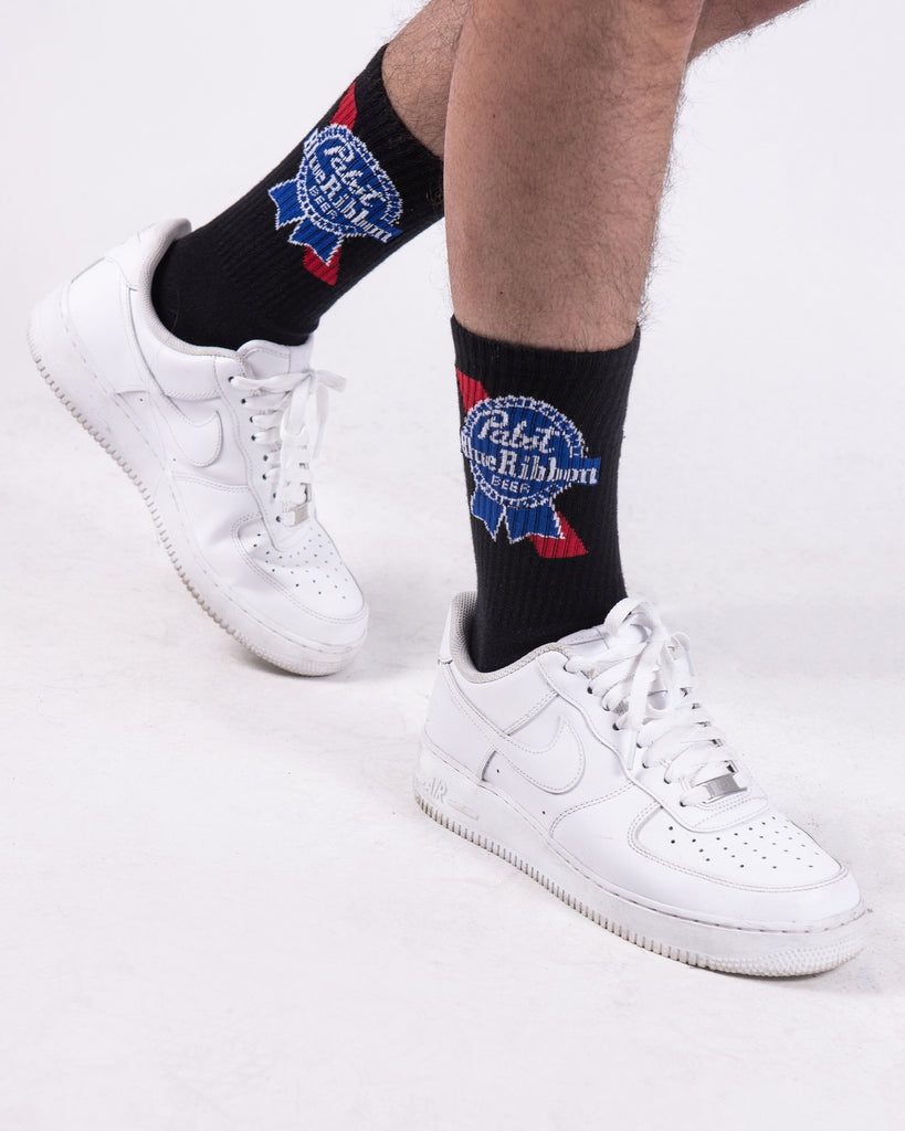 PBR Ribbon Mid Calf Black Socks