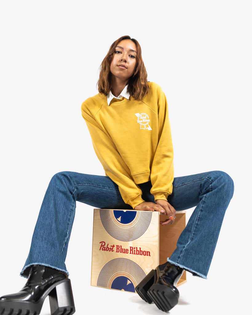 Women's Cropped Raglan Fleece - Pabst Blue Ribbon Store