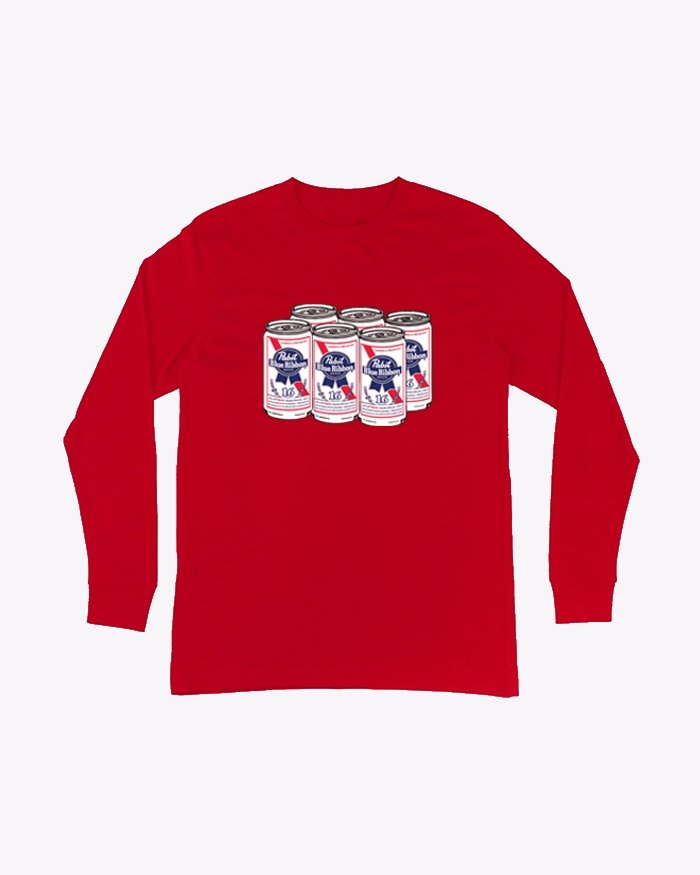 Men's 6 Pack L/S- Red