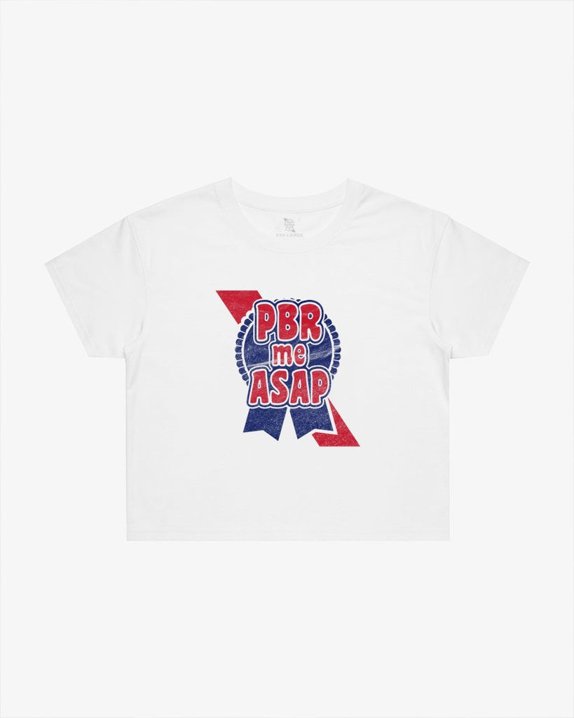 PBR Me ASAP Crop Tee- White