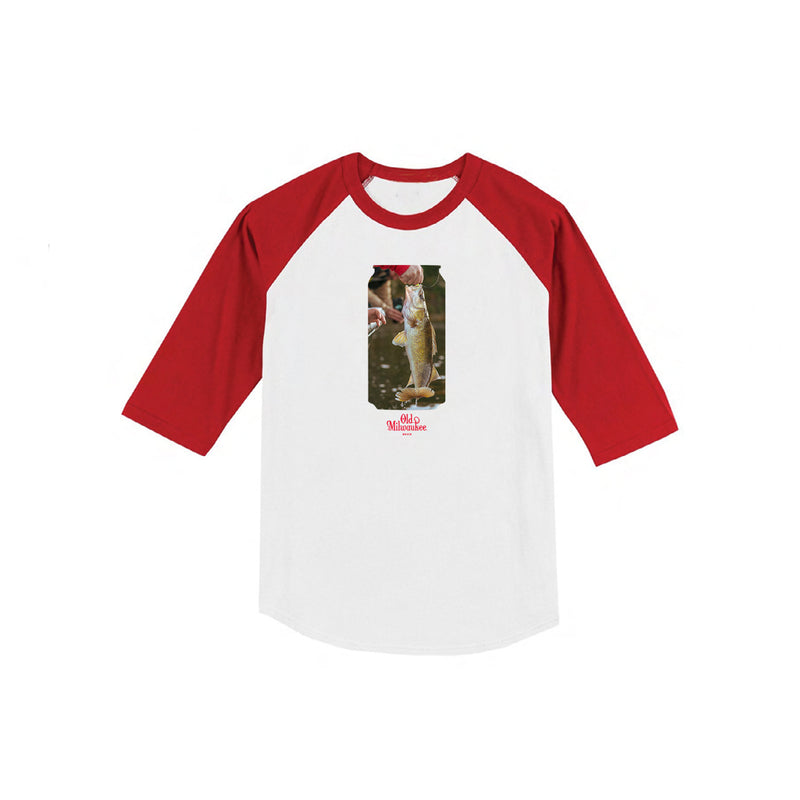 Walleye Raglan - White/Red