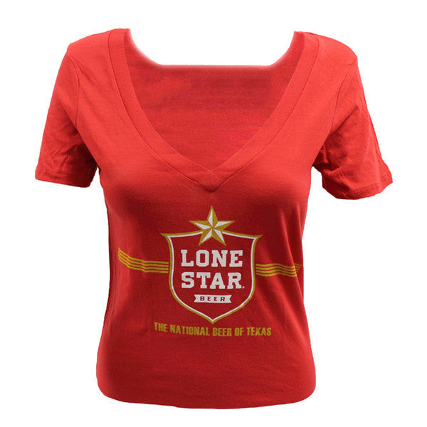 Lone Star Ladies Red V-Neck T-Shirt