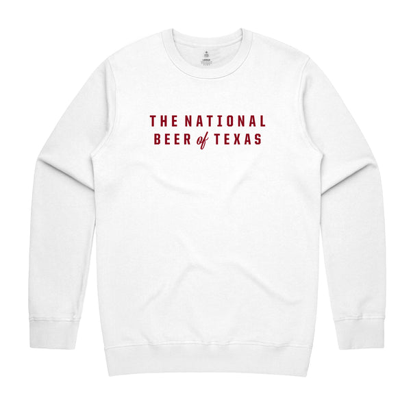 BEER OF TEXAS CREWNECK SWEATER - WHITE