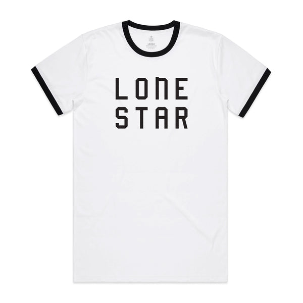 MENS LONE STAR RINGER TEE - WHITE/BLACK