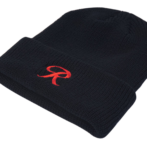 LITTLE R CUFF BEANIE - BLACK