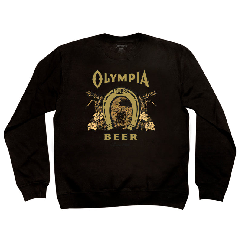 LABEL CREW NECK- BLACK - Olympia Beer