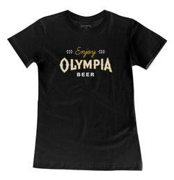 WOMEN'S LEAF TEE- BLACK - Olympia Beer