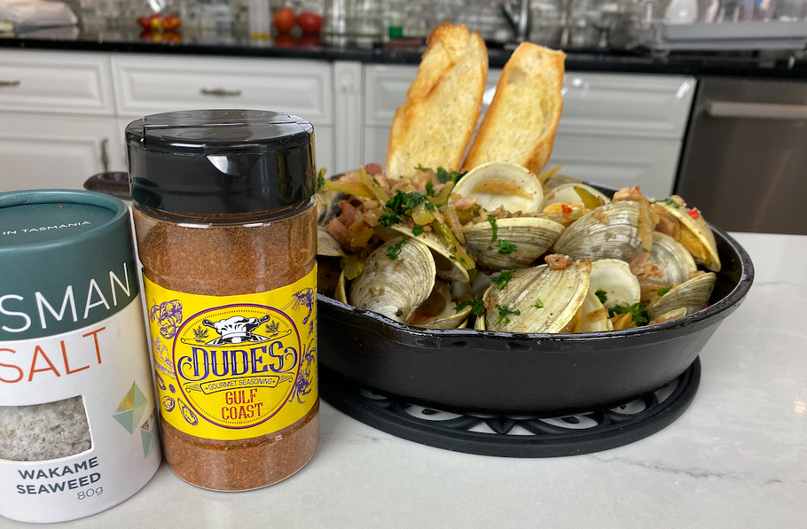 Happy Clams in beer broth using our Gulf Coast Seasoning