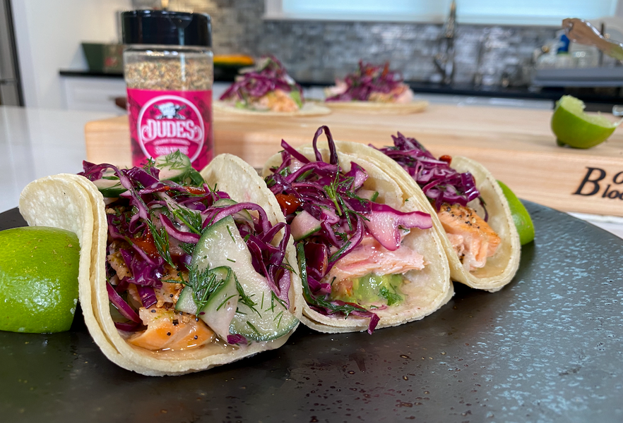Roasted Salmon Tacos Featuring Fish Foodies