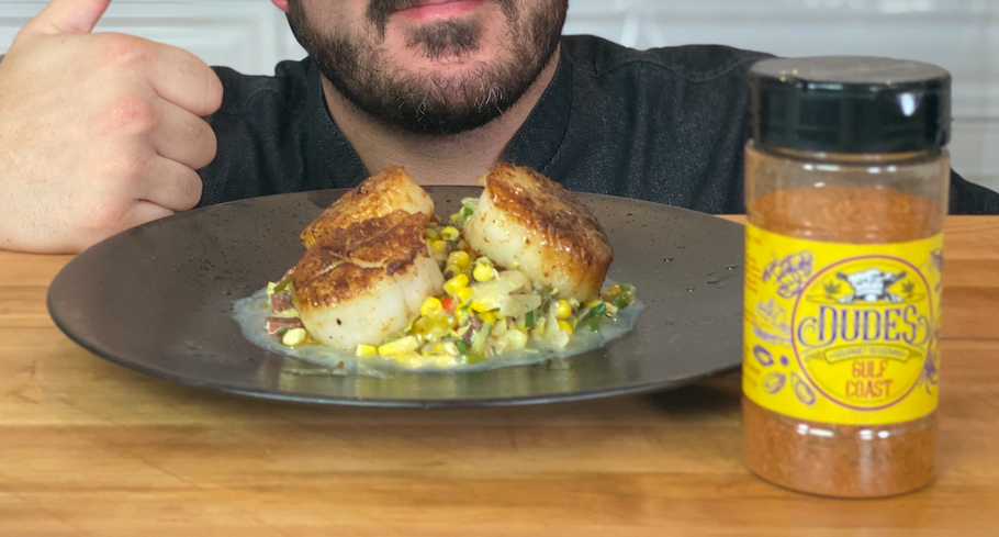 Seared Scallops With Roasted corn and Chorizo