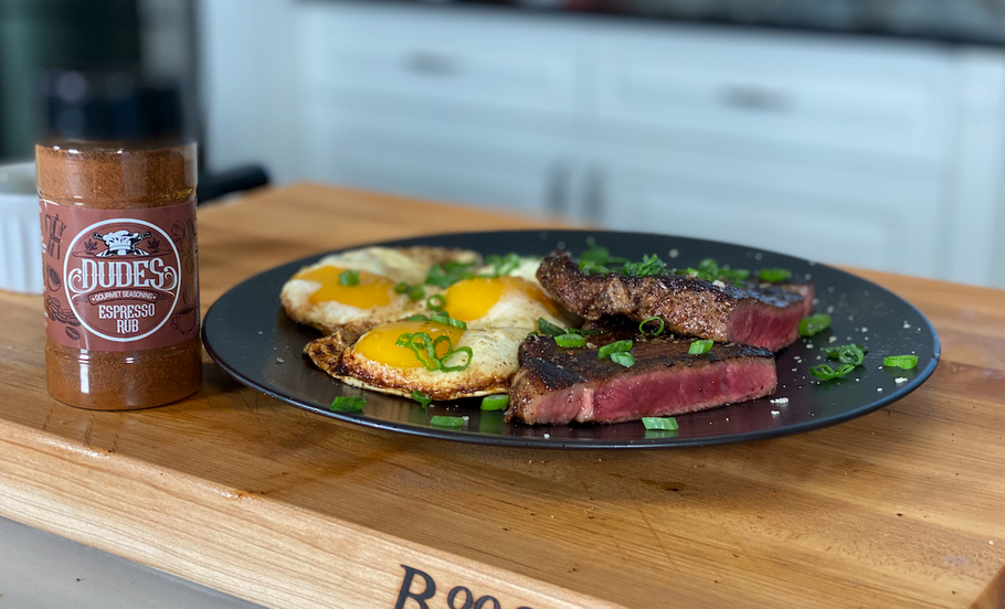Espresso Ribeye Steak and Eggs