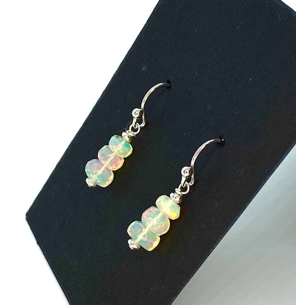 Ethiopian Stacked Opal Earrings in Sterling