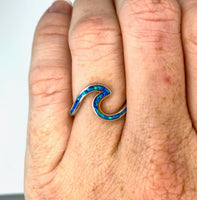 """Wave"" Ring - Blue Opal and Sterling Silver"