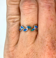 "Blue Opal and Sterling ""Leaf"" Rings"
