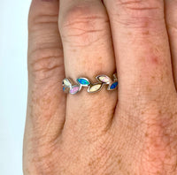 "Rainbow Opal and Sterling ""Leaf"" Rings"
