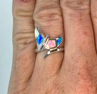 Rainbow Opal Whale Tail Ring