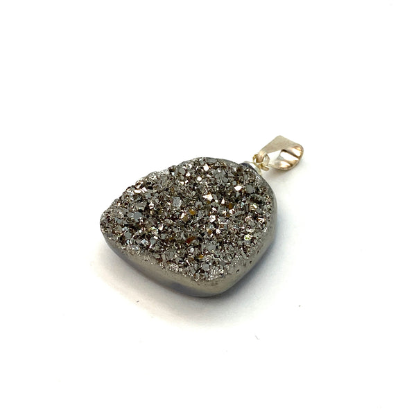 Golden Pyrite Aura Geode Crystal Necklace