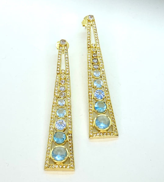 Aquamarine and Lab Diamond Gold Vermeil Earrings