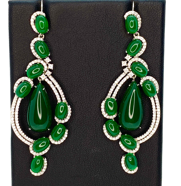 Lab Emerald and Lab Diamond Fancy Chandelier Drop Earrings
