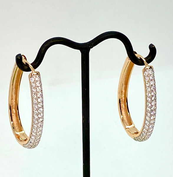 Reversible Rose Gold and Lab Diamond Drop Hoop Earrings