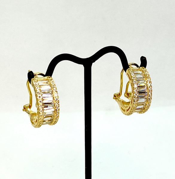 Lab Diamond and Gold Vermeil Mini Hoop Earrings