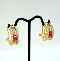 Rainbow Lab Diamond and Yellow Gold Vermeil Mini Hoop Earrings