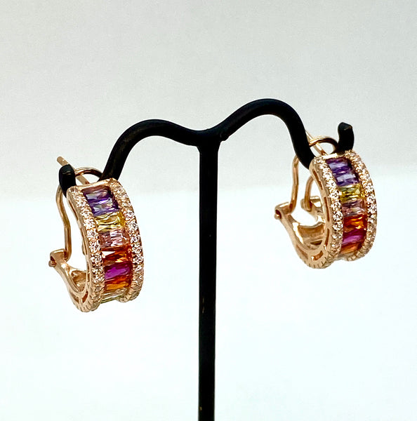 Rainbow Lab Diamond and Rose Gold Vermeil Mini Hoop Earrings