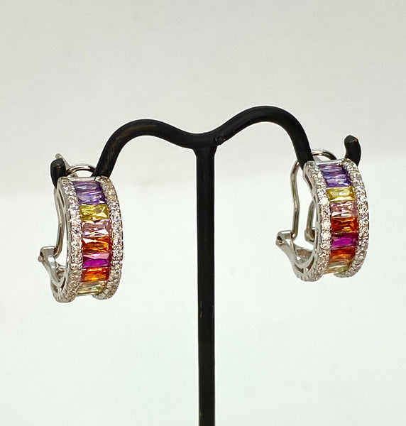 Rainbow Lab Diamond and White Gold Vermeil Mini Hoop Earrings