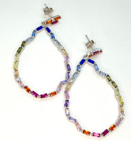 Rainbow Lab Diamond Large Open Hoop Earrings