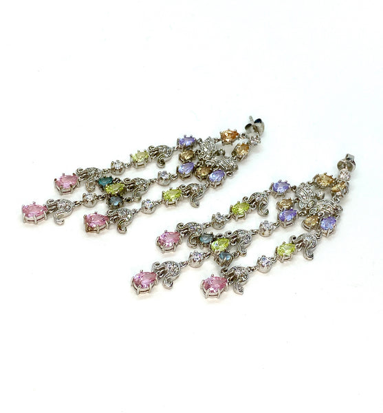 Spring Colors Lab Diamond Chandelier Statement Earrings