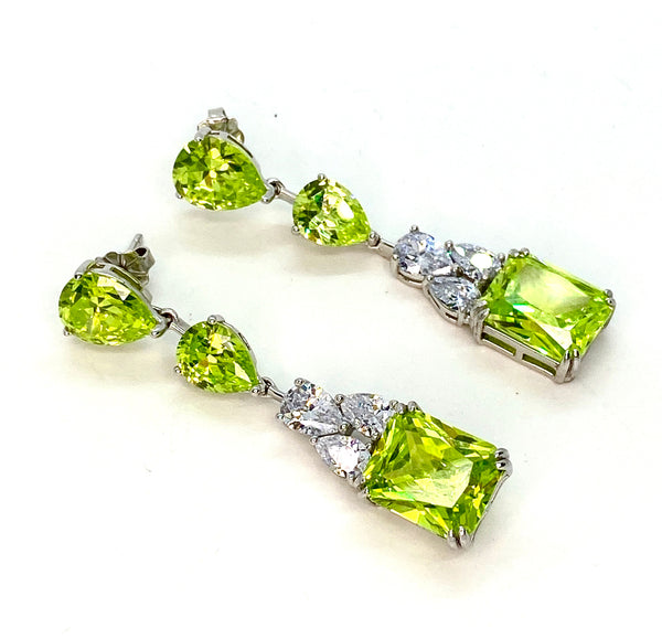 Apple Green CZ and Lab Diamond Earrings