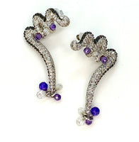 Amethyst and Lab Diamond Earrings