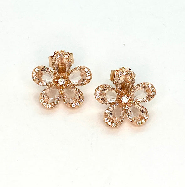 Morganite and Rose Gold Flower Earrings