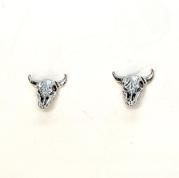 Cow Skull Mini Stud Earrings - Sterling Silver
