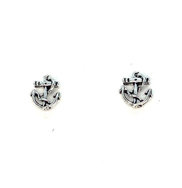 Anchor & Rope Mini Stud Earrings - Sterling Silver
