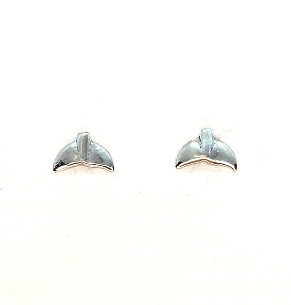 Flat Whaletail Mini Stud Earrings - Sterling Silver