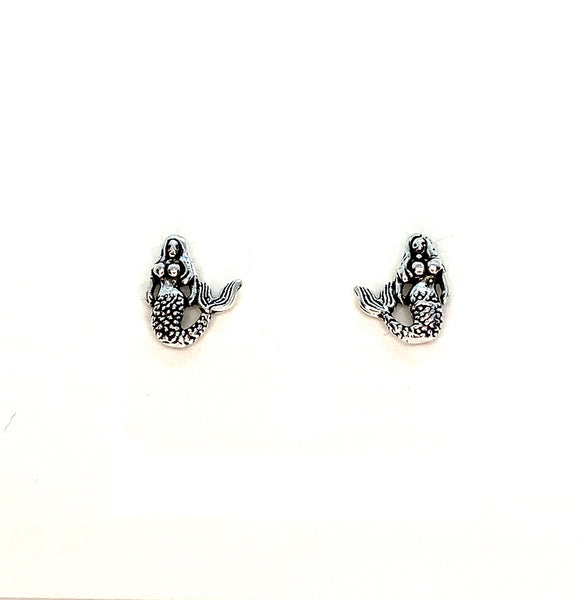 Mermaid Mini Stud Earrings - Sterling Silver