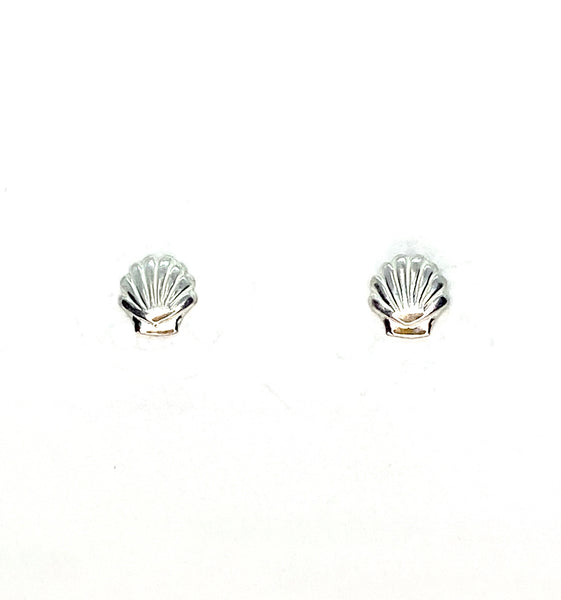 Seashell Mini Stud Earrings - Sterling Silver
