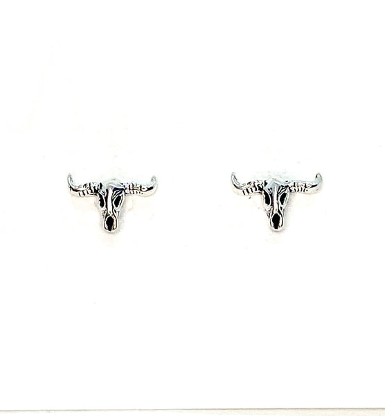 Longhorn Skull Mini Stud Earrings - Sterling Silver