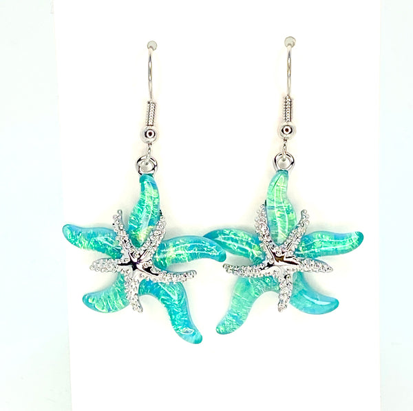 Light Blue Lab Opal Star Fish Earrings