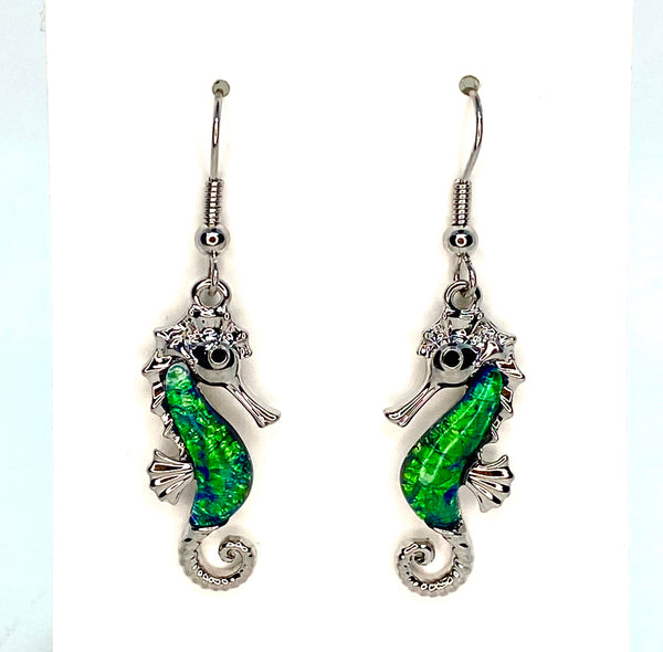 Green Lab Opal Seahorse Earrings