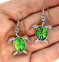 Blue Green Lab Opal Turtle Earings