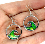 Blue Green Lab Opal Round Wave Earrings
