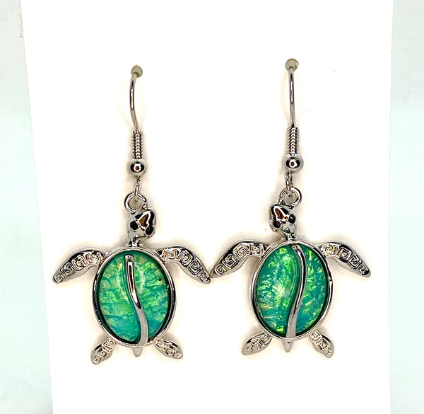 Light Blue Lab Opal Turtle Earings