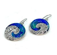 Blue Green Lab Opal Ocean Swirl Earrings